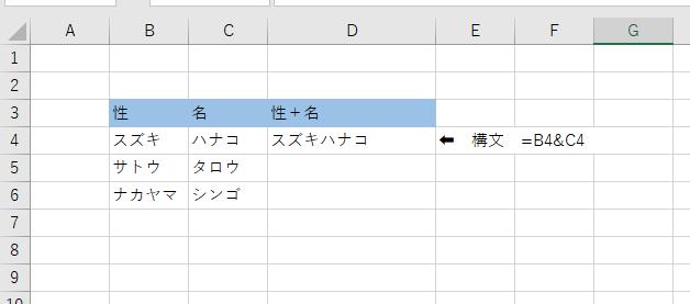 複数セルの文字を一つに結合したい時の関数